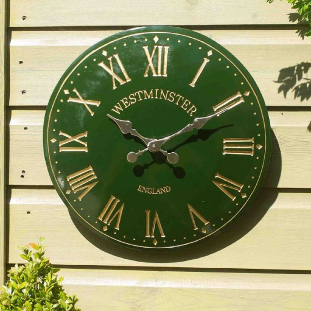 WESTMINSTER TOWER WALL CLOCK 15IN GREEN
