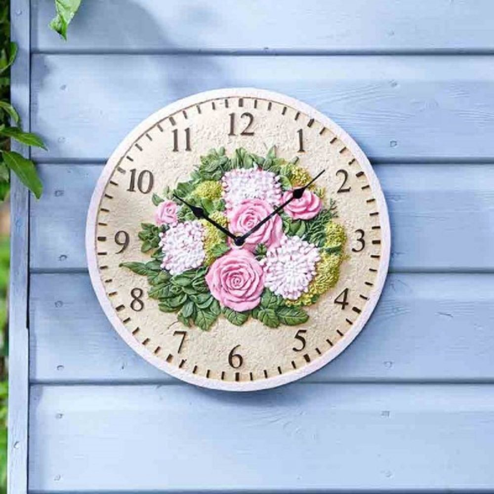 FLORAL 12IN WALL CLOCK